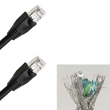 50'ft 23-AWG CAT6 Black Network Shielded Cable Outdoor UL Copper Ethernet Lan