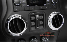 Chrome Dashboard Console Air Vent cover trim ring For Jeep Wrangler JK 2011-2016
