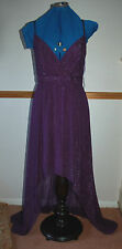 NEW Sz 10 Purple Ruched Mini-Maxi Dip Hem Metallic Thread Shimmer Dress