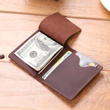 Men's Slim Bifold Craze Horse Leather Wallet Money Clip Credit Card Holder