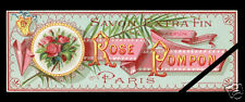 Vintage Perfume Soap Label Original Art Nouveau French Early 1900's Rose Pompon