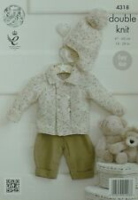 KNITTING PATTERN Baby's Easy Knit Double Breasted Jacket & Bobble Helmet DK 4318