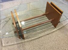 Vintage Mid Century Modern Wood Glass Coffee Table Danish