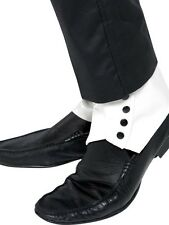 WHITE Mens 1920s 20s SPATS with Black Buttons Fancy Dress Accessories 33459