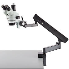 AmScope SM-6T 7X-45X Trinocular Articulating Zoom Microscope with Clamp