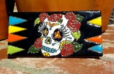 DAY OF THE DEAD SUGAR SKULL CLAY TILE 3 IN x 6 IN HAND MADE MEXICO FREE SHIP