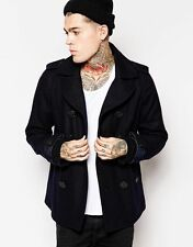 Diesel W-Champ Pea Coat Wool Double Breasted Navy Blue Size M