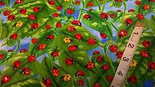 Timeless Treasure Cotton fabric FQ small yellow and red ladybirds on leafs