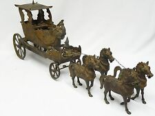 ANTIQUE 18c. INDIAN BRONZE ARJUNA KRISHNA GANESH CHARIOT PULLED BY 4 HORSE