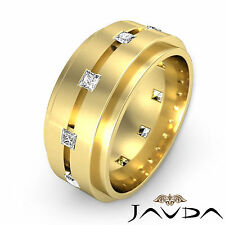 Step Edge Ring 18k Yellow Gold Princess Diamond Mens 9.4mm Wedding Band 0.70Ct