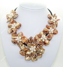 """7 flower golden mother of pearl shell pendant necklace 18"""" long Fashion Jewelry"""