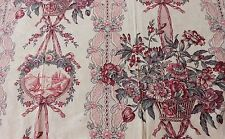 Romantic Antique French Basket & Ribbon Printed Toile Textile Fabric c1880~Home