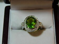 Sterling Silver Huge Green Peridot Stone CZ size 8.5 Cocktail Ring 12b 50