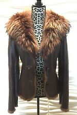 Sheri Bodell gorgeous genuine leather jacket with rabbit fur trim,raccoon collar
