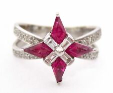 1.43 TCW Trillion Cut Red Ruby & Diamonds Cluster Cocktail Fashion Ring Size 7.5