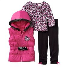 Little Lass NWT 3pc Cheetah Animal Print Puffy Vest Hoodie Set Baby Girl 18m $40