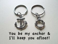 Small Life Saver & Anchor Keychain Set - Be My Anchor And I'll Keep You Afloat