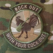 ROCK OUT WITH YOUR COCK OUT US ARMY MORALE MILITARY MULTICAM HOOK PATCH