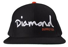 Diamond Supply Co OG Script Logo Black Orange Snapback Hat Baseball Cap