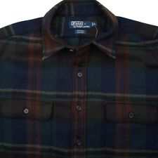 POLO RALPH LAUREN Whitman 100% Wool Flannel Dark Plaid Mens Shirt - L NEW W/TAGS