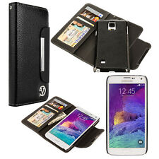 Black Dual PU Leather Wallet Magnetic Back Case Stand For Samsung Galaxy Note 4