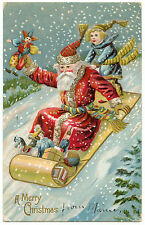 PERE NOEL.SANTA CLAUS. CHRISTMAS.TAPIS.LUGE. ENFANT. CARPET SLEDGE. CHILDREN