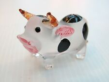 Craft Collectible MINIATURE HAND BLOWN GLASS Black Dot Cow FIGURINE Farm Animals