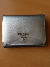 Authentic Prada Silver Saffiano Trifold Leather Wallet