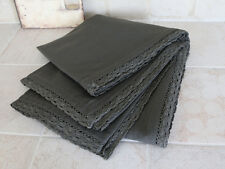 Cotton Tablecloth, Dark Grey with Lace Edge, 140 x 240cm