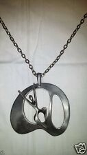 Modernist MCM Mod Danish Abstract Art Finland Scandinavian Figural Pendant Chain