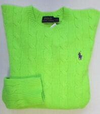 NWT Polo Ralph Lauren Cable Sweater Neon Green Size L