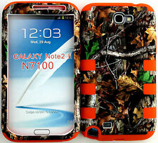 Cover Case for Samsung Galaxy Note 2 N7100 Camo Mossy Branch Leaf on Orange Skin
