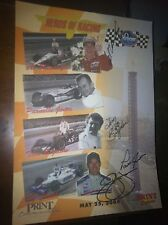 Indy 500 Car Poster Signed By Parnelli Jones Al Unser Jr Tom Bigelow Pj Jones