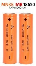 TWO MNKE 1500mAh High Drain 18650 Batteries * 30A 3.7v * Li-MN IMR  New!