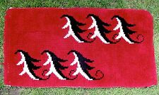 "VINTAGE 1930-50 HAND HOOKED DEEP RED RUG/MODERN LEAVES RECTANGLE 21 1/2"" X 42"""