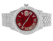 Mens Rolex Datejust 36MM Jubilee Oyster Perpetual Red Dial Diamond Watch 3.5 Ct