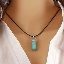 """Hot Women Statement Leather Crystal Pendant Necklace Chian 20"""" AG"""