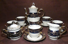 THUN KARLOVARSK Cobalt Blue Gold Trim Fine Porcelain China Coffee Set Tea Set