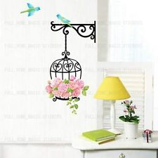 Flower Bird Cage Wall Art Decal Stickers Home Decor Mural Wallpaper Premium PVC