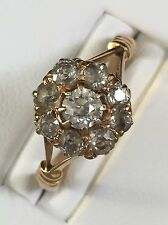 18Ct Gold Old Cut Diamond Cluster Ring 1Ct