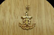 14K YELLOW GOLD FILIGREE MARINERS ANCHOR CROSS CRUCIFIX JESUS PENDANT CHARM