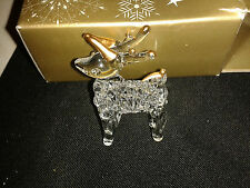 CHRISTMAS TREE DECORATION ~ GLASS CLEAR & GOLD REINDEER ~ 99P NO RESERVE