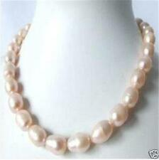 Genuine 9-10mm Pink baroque pearl Necklace 18''