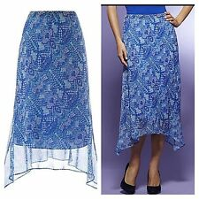 SIMPLY BE Size 18 Turquoise Blue Multi Print Floaty SKIRT Holiday Occasion New