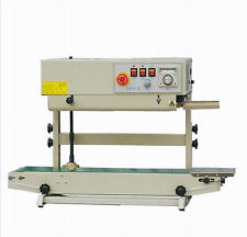 Table Top Stainless Steel Vertical Band Sealer w/ Emboss Printer Continuous Seal