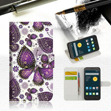 Purple Butterfly Wallet Case Cover For Optus 4G ZTE ZIP -- A017