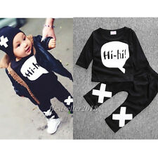 2pcs Newborn Baby Boys Girls Hi-Hi Long Sleeve T-shirt +Pants Outfits Sets 0-9M