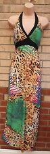 NEW LOOK MULTI COLOUR LEOPARD BEIGE HALTERNECK LONG MAXI SUMMER DRESS 8 S