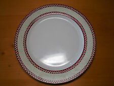 "Noble Excellence CHICKEN SCRATCH Set of 3 Dinner Plates 10 7/8"" Red Check B"