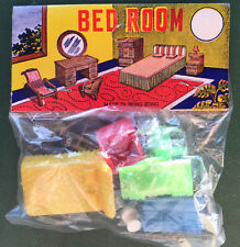 1950s Brightly Coloured Toy Miniature Bedroom Furniture Set